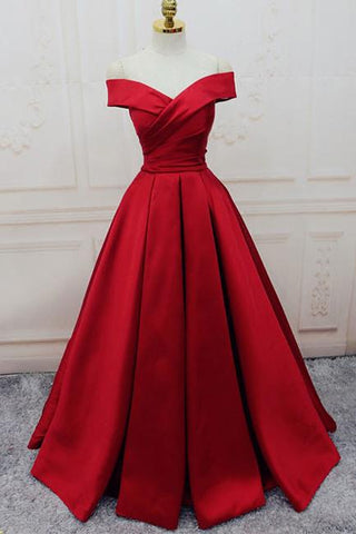 Gorgeous Red Off Shoulder Sweetheart Sleeveless Long Lace up Prom Dresses JS364