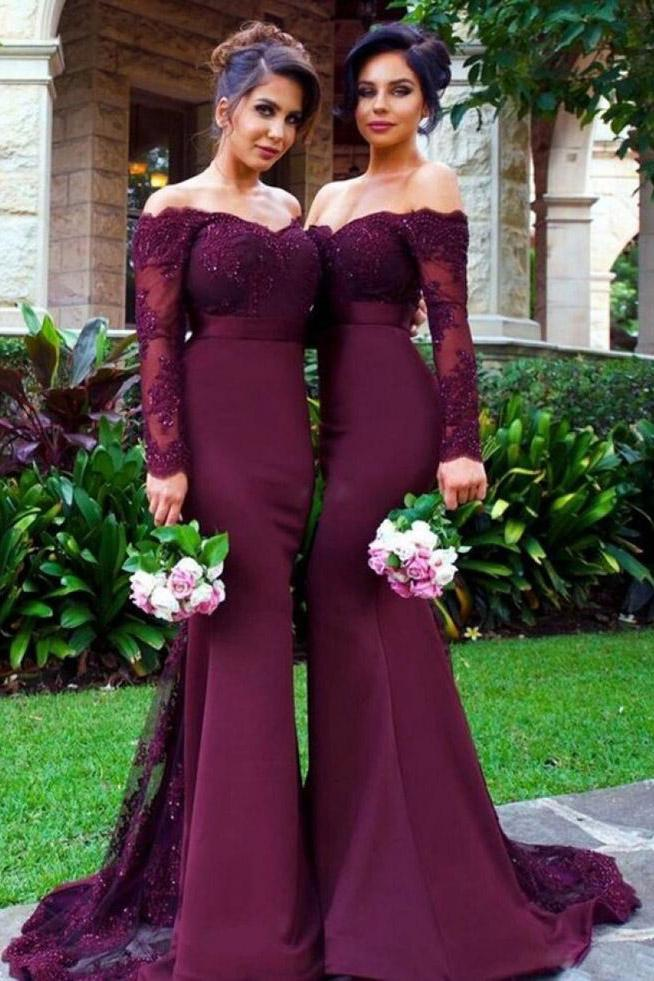 New Arrival Off-the-Shoulder Wine Red Trumpet Long Sleeve Mermaid Bridesmaid Dresses UK JS932