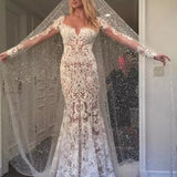 Romantic Long Appliques Backless Lace Mermaid Ivory Long Sleeve Wedding Dresses JS294