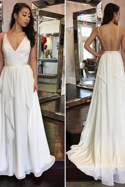 Simple Cheap Sexy Ivory A-line Chiffon V-Neck Sleeveless Ruffles Backless Wedding Dress JS864