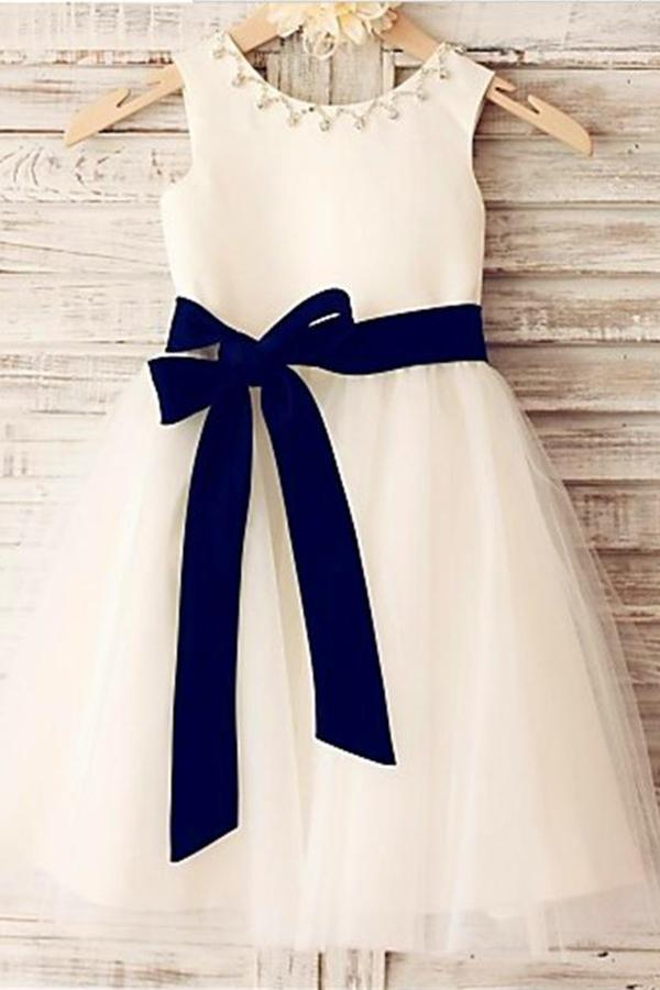 Ivory A-line Scoop Sleeveless Bowknot Tea-Length Tulle Flower Girl Dresses With Belt GD00005