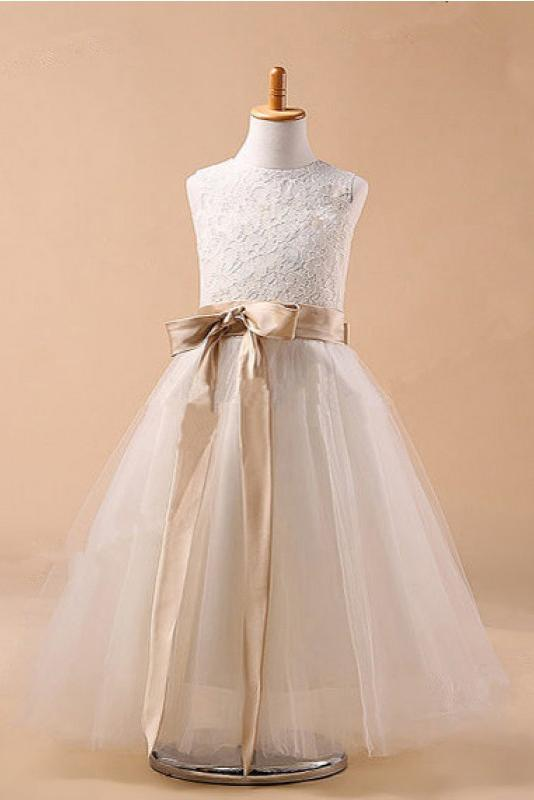 Ball Gown Jewel Sleeveless Bowknot Long Tulle Flower Girl Dresses With Sash GD00009