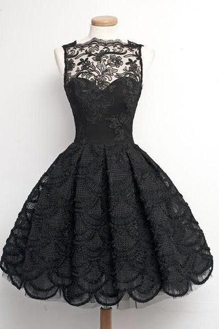 A-Line Scalloped-Edge Sleeveless Vintage Black Lace Knee-Length Homecoming Dress JS235