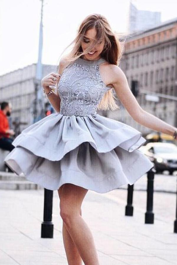A-Line Round Neck Grey Short Beads Sleeveless Homecoming Dresses with Lace JS859