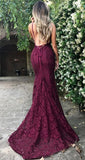 Amazing Lace Maroon V Neck Spaghetti Strap Long Lace Burgundy Prom Dresses JS578