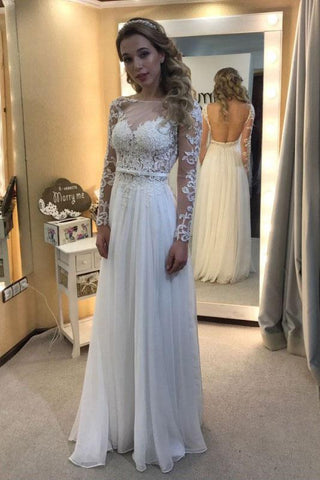 A-line Scoop Neck Chiffon Tulle Appliques Lace Long Sleeve Backless Prom Dresses JS695
