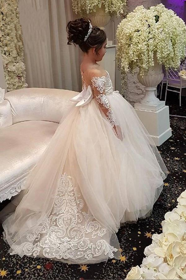 Ball Gown Round Neck Long Sleeves Tulle Bowknot Flower Girl Dress with Appliques JS770
