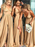 Elegant A-Line V-Neck Elastic Satin Backless Ruffles Sleeveless Bridesmaid Dress with Split JS757