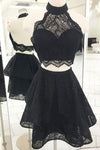 Fashion A Line Two Pieces Halter Backless Black Lace Short Homecoming Dresses JS983