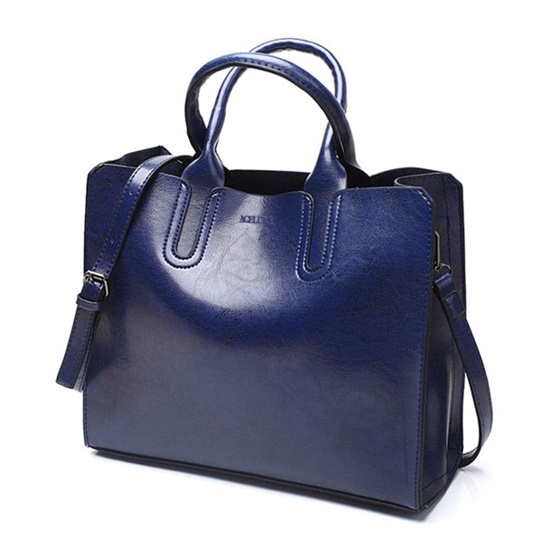 Casual Women's Leather Tote Bag - Modern Charme.