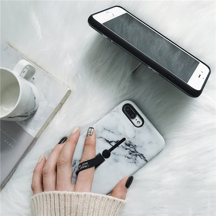 Marble Ring Grip IPhone Case - Modern Charme.