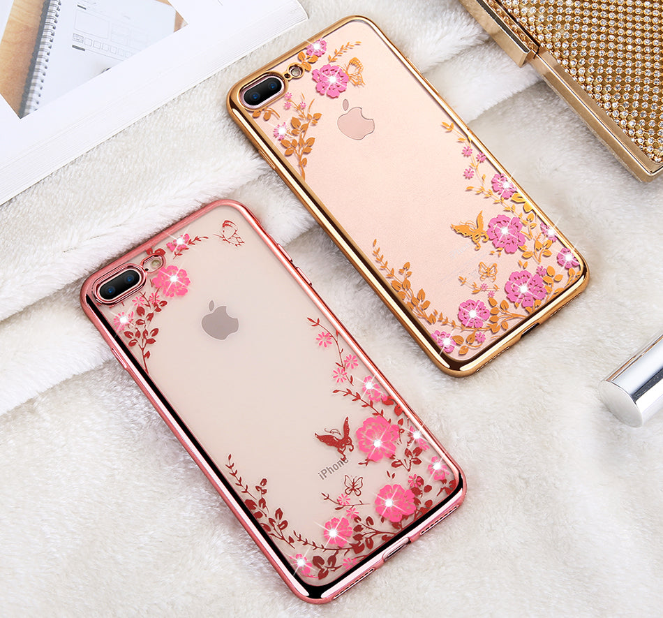 Glittery Flowers Rose Gold IPhone Case - Modern Charme.