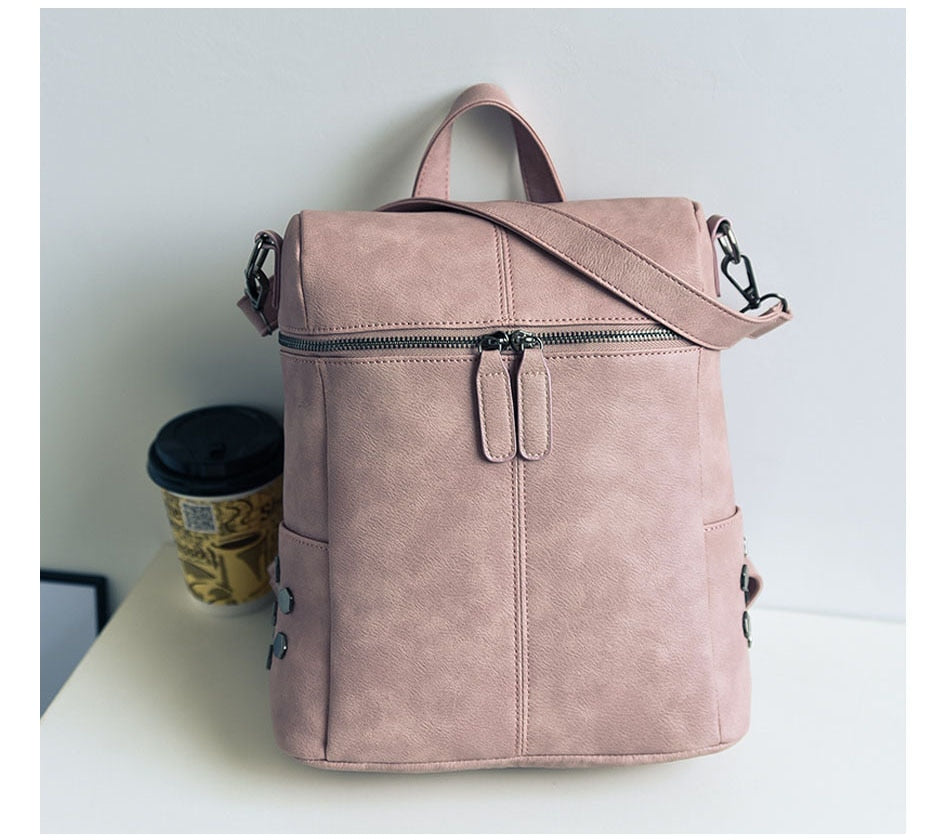 High Quality Women's Leather Rucksack - Modern Charme.