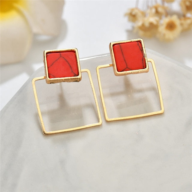Geometric Stone Stud Earrings - Modern Charme.