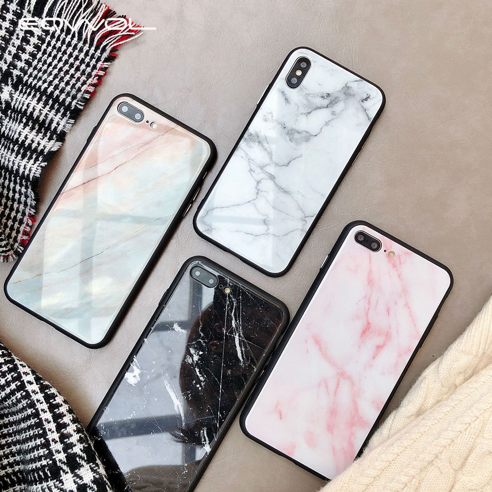 Marble Tempered Glass IPhone Case - Modern Charme.