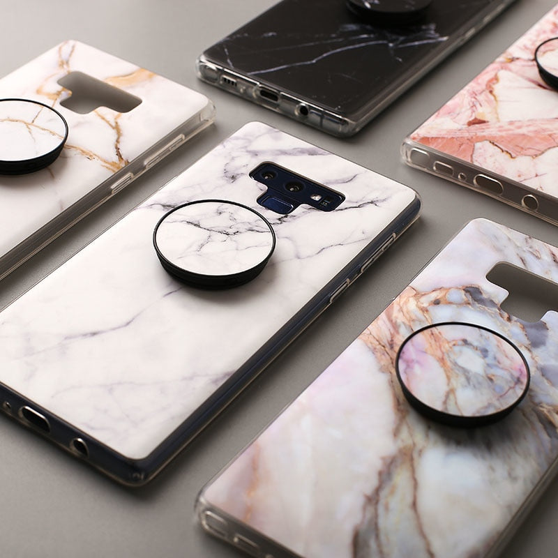 Luxury Marble Samsung Case with Grip Stand Holder - Modern Charme.