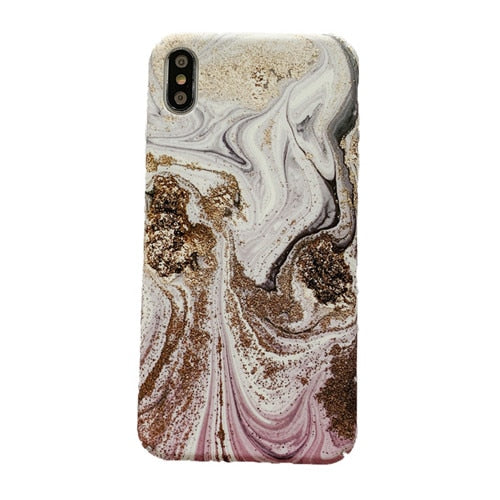 Golden Swirl Marble IPhone Case - Modern Charme.