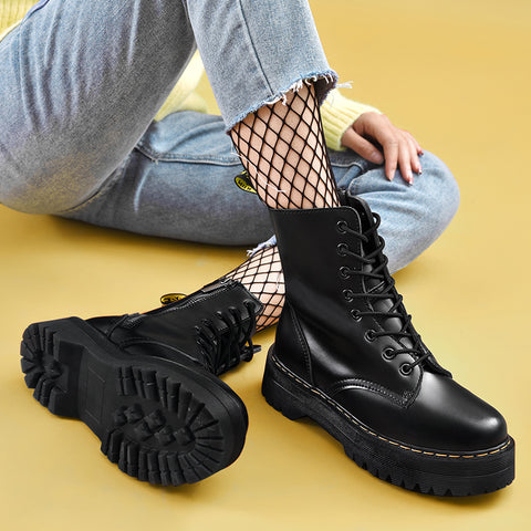 Fashion Women Round Toe Thick Bottom Boots