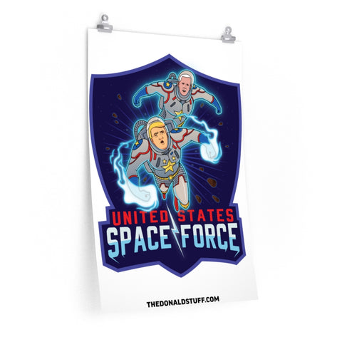 Donald Trump And Mike Pence Space Force DC Comic Book Style Poster