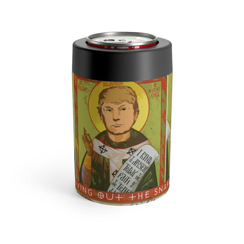 Saint Donald Trump Driving Out The Snakes Metal Koozie