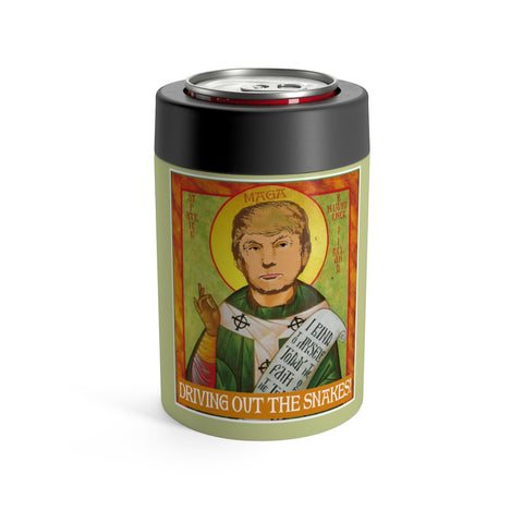 President Trump Is Saint Patrick Funny Driving Out The Snakes Irish Can Holder Holiday Koozi
