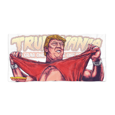 Trumpmania President Donald Trump Awesome Hulk Hogan Wrestler Parody Funny Political Humor Beach Towel