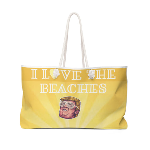 I Love The Beaches Funny Trump with Kanye West Glasses Hilarious Political Weekender Bag