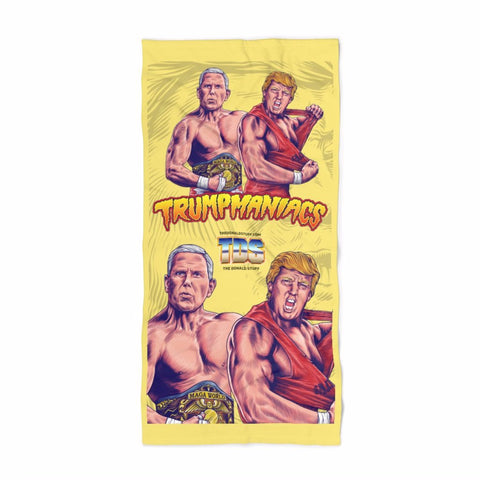 Trumpmaniacs Trump and Pence Wrestler Tag Team Trumpmania Beach Towel