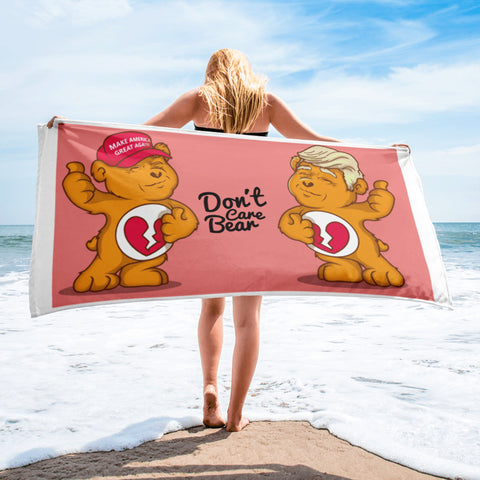 Don't Care Bears MAGA Hate Bear and Trump Hair Bear Funny Political Beach Towel Beach Towel