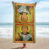 Saint Trump Irish Saint Patrick Parody Driving Out The Snakes Funny Political Beach Towel