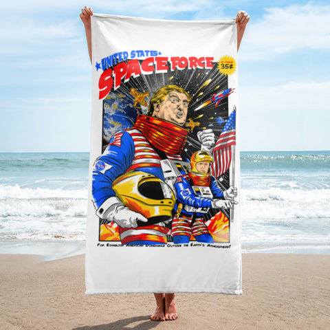 USSF Space Force Trump and Pence In Space Comic Book Style Funny Political Beach Towel