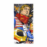 Space Force Donald Trump Face Comic Book Style Beach Towel