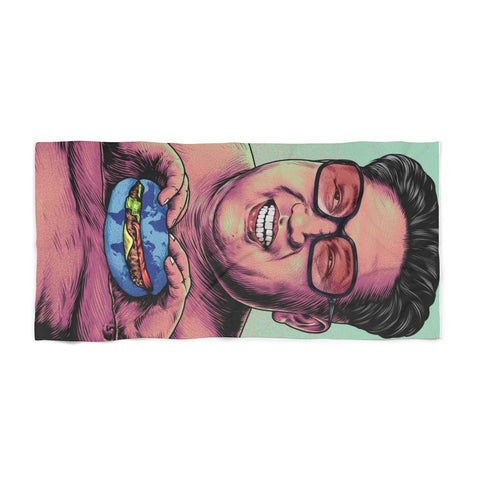Kim Jong-Un Eating a World Burger Funny Political Humor Beach Towel