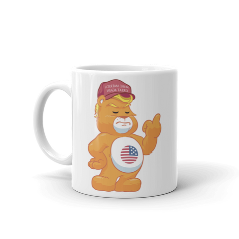 Hilarious Trump Supporter Don't Care Bear with MAGA Hat Mug ADULT