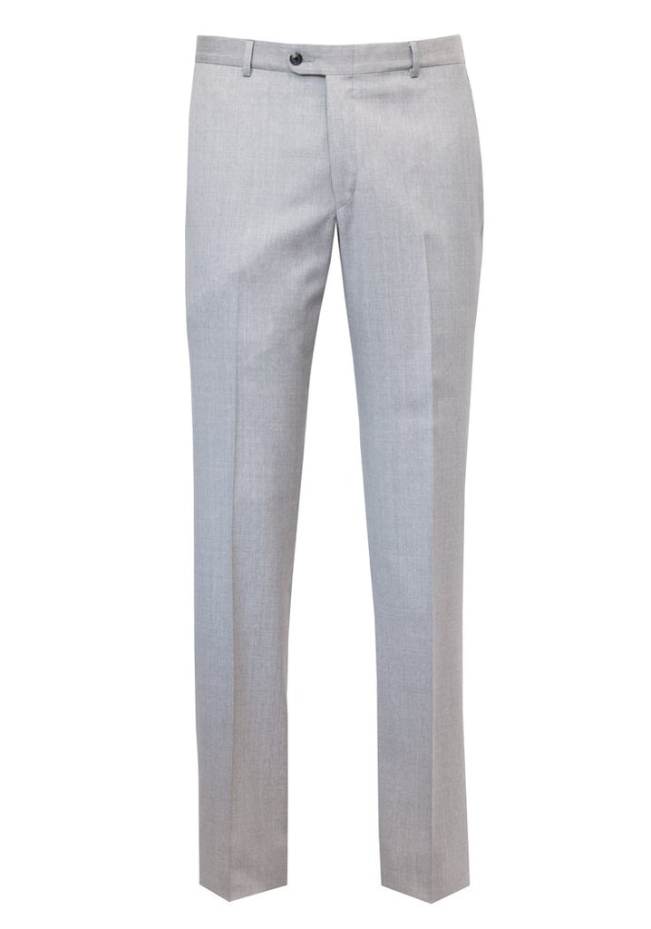 Light Grey Wool Flat-Front Trousers