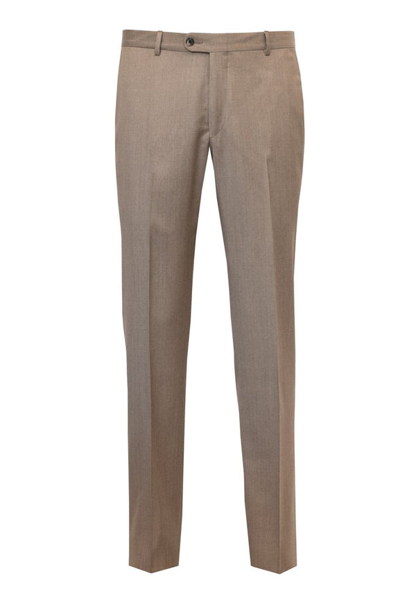 Tan Wool Flat Front Trousers