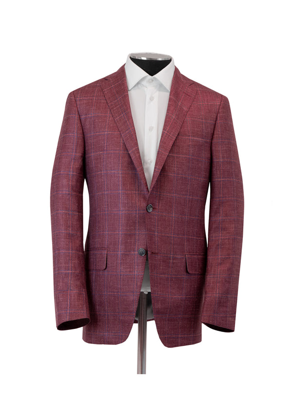 Berry Silk Cashmere Linen Windowpane Jacket