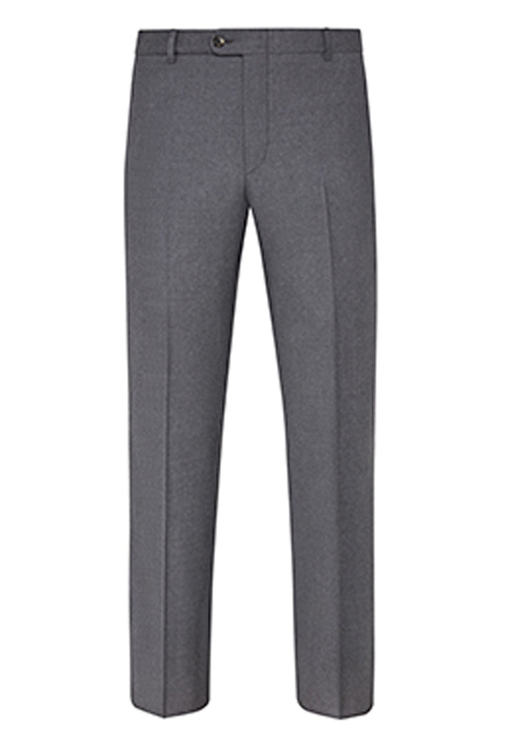 Grey Traveler Wool Flat-Front Trousers
