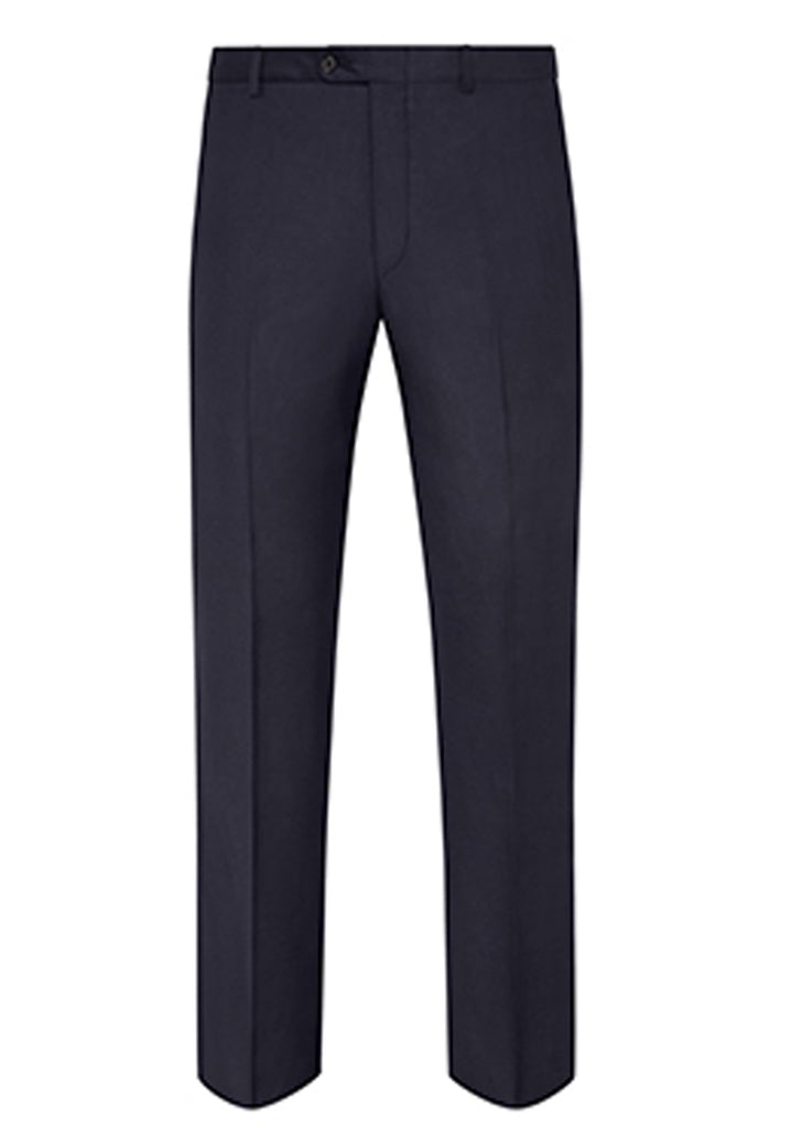Navy Traveler Wool Flat-Front Trousers