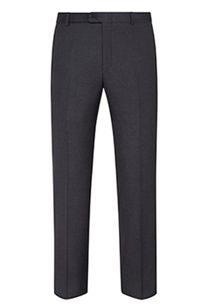 Charcoal Traveler Wool Flat-Front Trousers
