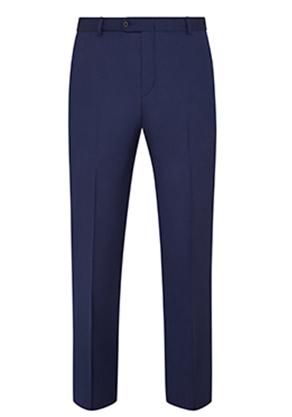 Blue Traveler Wool Flat-Front Trousers