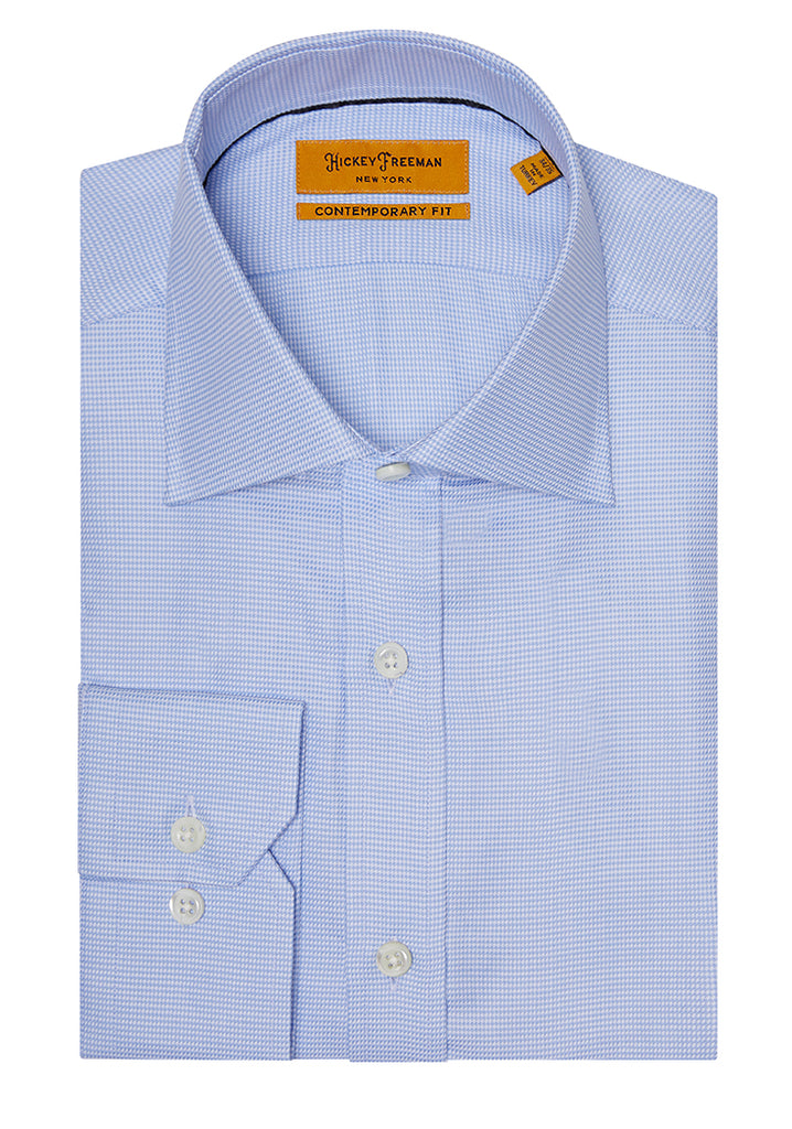 Lt Blue Micro Houndstouth Dress Shirt