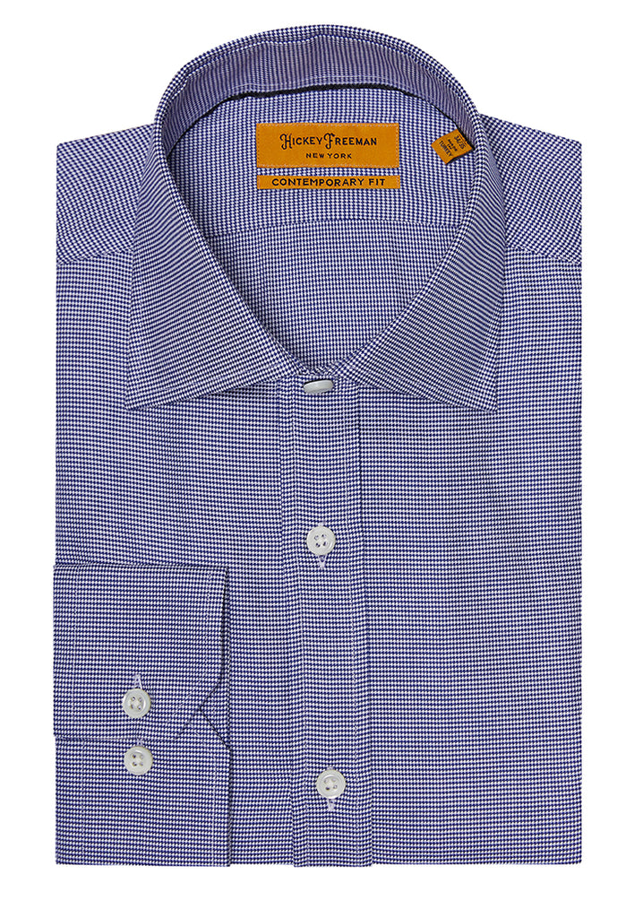 Navy Micro Houndstouth Dress Shirt