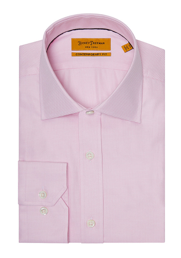 Pink Micro Houndstouth Dress Shirt