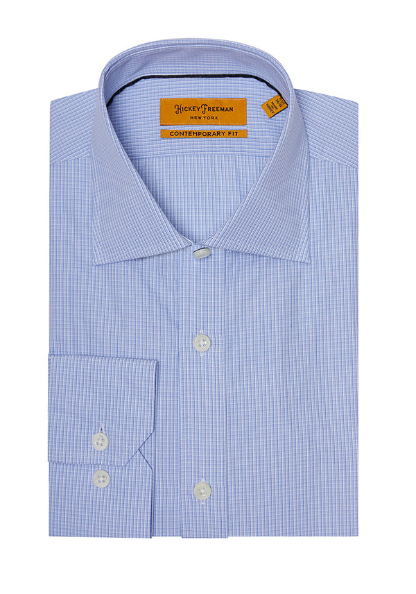 Blue Mini Check Dress Shirt
