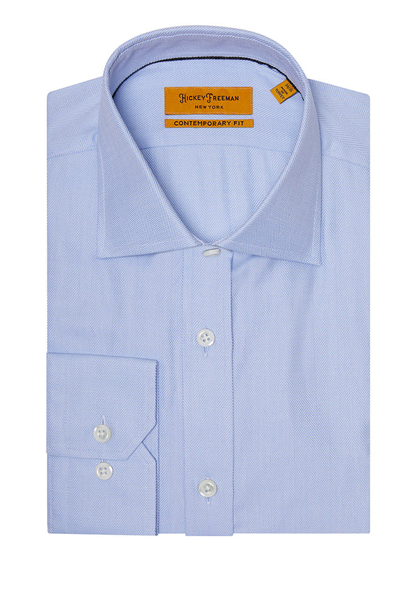 Lt Blue Herringbone Dress Shirt