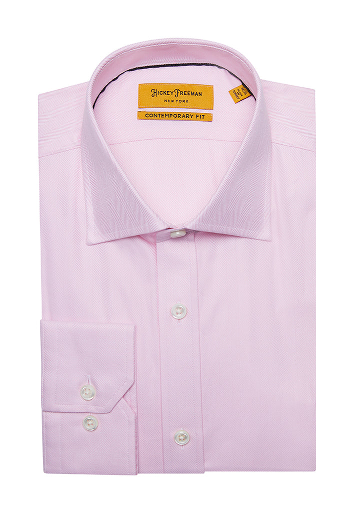 Pink Herringbone Dress Shirt