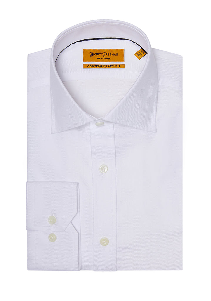 White Herringbone Dress Shirt