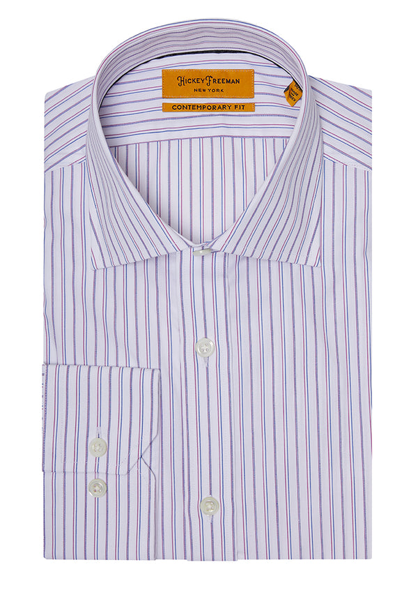 Red Multicolor Stripe Dress Shirt