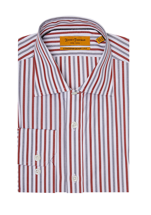Red Navy Wide Stripe Dress Shirt